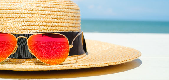Protect your head with hats to block the sun and heat.